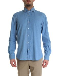 Fay - Light blue chambray shirt with Fay embroidery