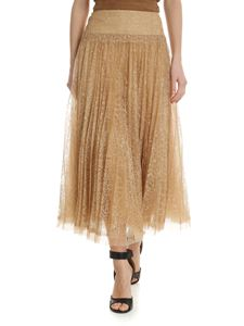 Ermanno Scervino - Caramel lace pleated midi skirt