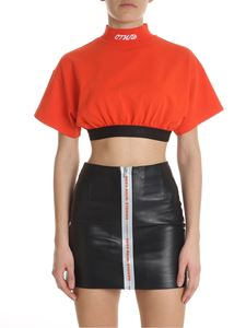 Heron Preston - Orange cropped turtleneck top