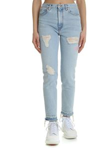 Heron Preston - Light blue fringed jeans