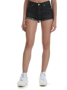 Heron Preston - Black fringed denim shorts