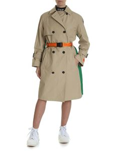 Heron Preston - Beige cotton trench coat with colorblocks
