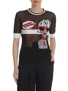 Ermanno Scervino - T-shirt in wool with black embroidery