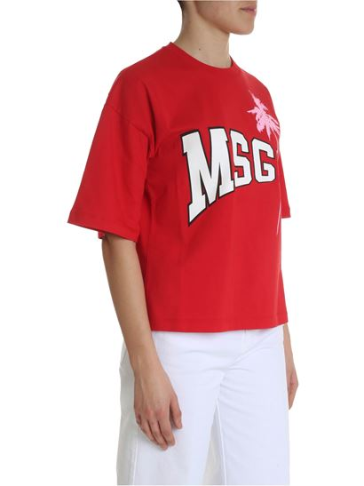 MSGM - Red oversized t-shirt with logo