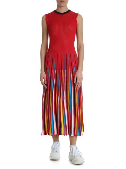 MSGM - Red semitransparent knitted dress