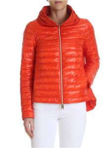 Herno - Orange down jacket with pleats on the neckline