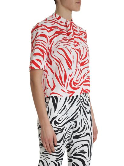 MSGM - Red and white zebra printed top