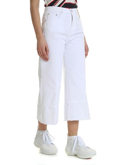 MSGM - Trousers in white denim