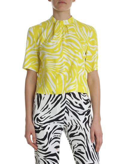 MSGM - Yellow and white zebra printed top