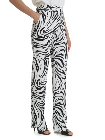 MSGM - Silk-effect trousers with zebra print