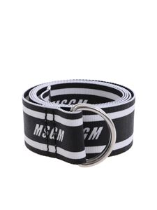 MSGM - White and black logo belt