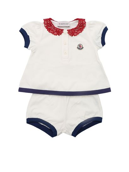 Moncler Jr - White tracksuit with lace collar