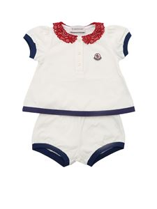 Moncler Jr - Completo bianco con colletto in pizzo