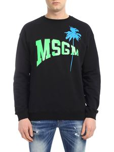 MSGM - Black sweatshirt with college logo and palm print