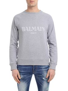 Balmain - Grey sweatshirt with logo print