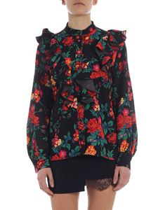 MSGM - Black ruffled shirt with floral motif