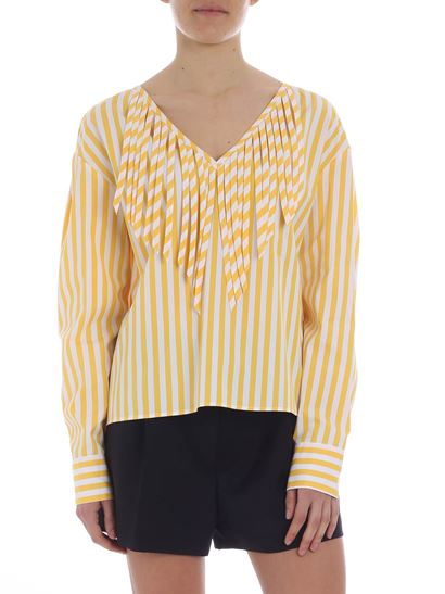 MSGM - Yellow and white striped oversize blouse