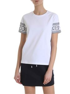 Kenzo - White T-shirt with Kenzo print on the sleeves