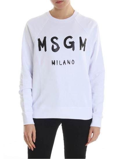 MSGM - White crewneck sweatshirt with brushed logo Msgm