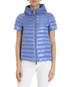 Herno - Indigo down jacket with short sleeves