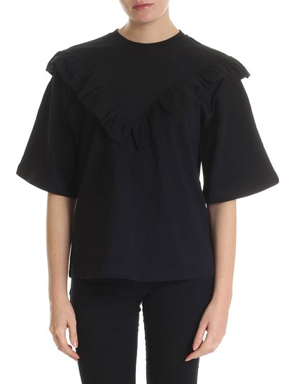 MSGM - Black ruffled T-shirt with wide sleeves