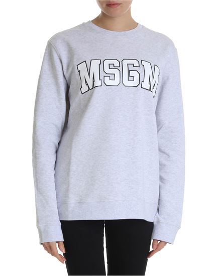 MSGM - Melange grey sweatshirt with college logo