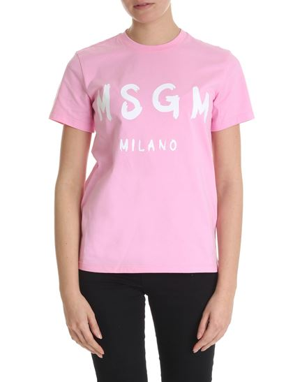 MSGM - Pink crew-neck t-shirt with Mgg logo