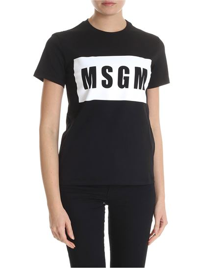 MSGM - Black T-shirt with Box logo Msgm print
