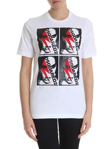 Dsquared2 - White T-shirt with Dsquared2 and lightning print