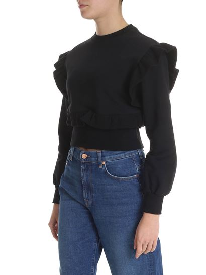 MSGM - Black crop sweatshirt with ruffles