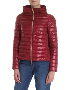 Herno - Burgundy down jacket with Herno logo