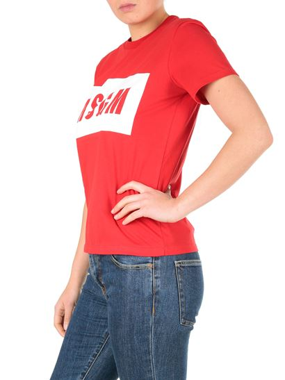 MSGM - Red T-shirt with box logo