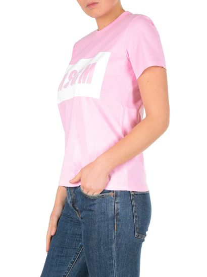 MSGM - Pink T-shirt with box logo