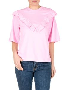 MSGM - T-shirt rosa con rouches