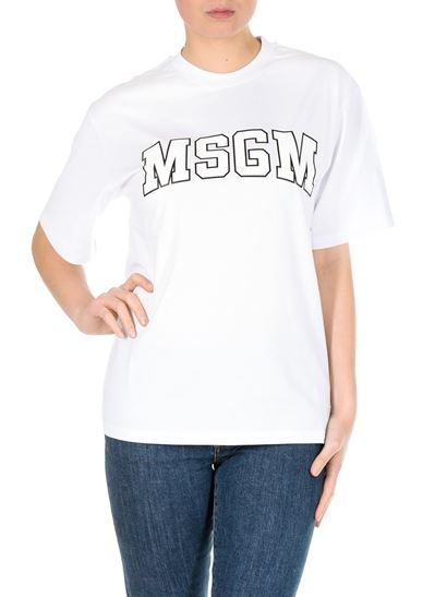 MSGM - White T-shirt with college logo