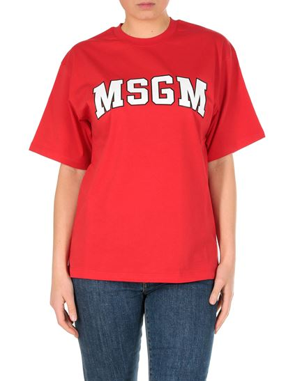 MSGM - Red T-shirt with college logo