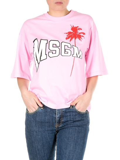 MSGM - Pink T-shirt with college logo and palm print