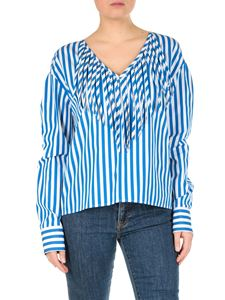 MSGM - Blue striped blouse with fringes