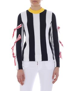 MSGM - Striped sweater with bow embellishment
