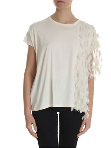Zucca - Cream-colored top with fringed details