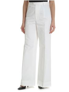 Maison Margiela - White palazzo trousers with turn-ups on the bottom