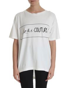 Semicouture - Cream-colored T-shirt with Semicouture logo