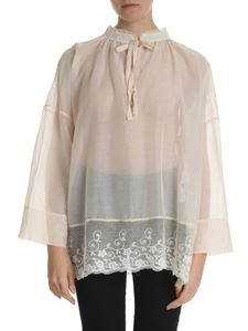 Semicouture - Nude-colored oversize blouse with lace