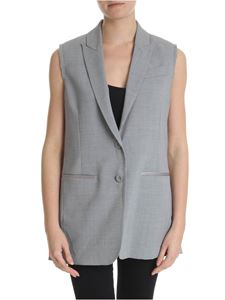 Semicouture - Gray melange waistcoat with raw cut