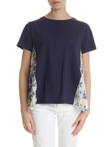 Semicouture - Blue t-shirt with contrasting inserts