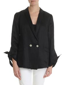 Semicouture - Black jacket with bow on the sleeves