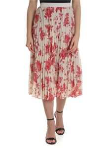Semicouture - Nude pleated skirt with floral print