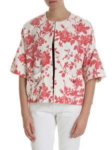 Semicouture - Ivory white shrug sweater with floral print