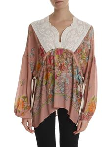 Semicouture - Antique pink blouse with floral print