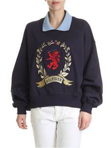 Hilfiger Collection - Blue pure cotton sweatshirt with collar